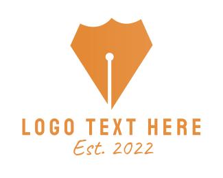 Calligraphy - Pen Shield logo design