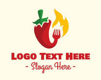 Hot Sauce - Hot Spicy Chili Food logo design