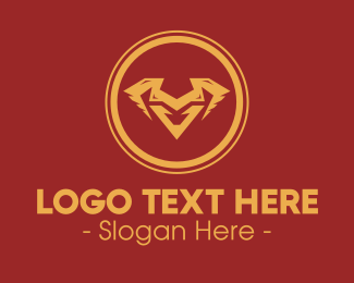 Horn - Golden Animal Horns Letter V logo design