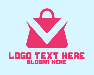 Handbag - Pink Shopping Bag App  logo design