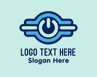 Turn On - Digital Power Button logo design