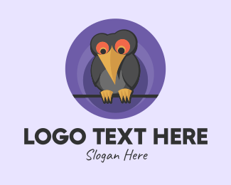 Cartoon - Cartoon Crow Bird  logo design