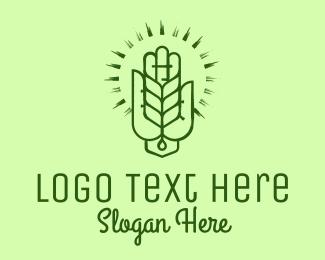 Spa - Green Hand Leaf Spa logo design