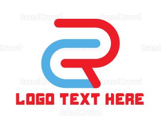 Duo - Blue Red CR Outline logo design