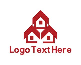 Duplex - Red Houses logo design