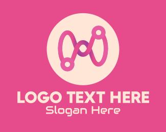 Loop - Pink Circuit Loop logo design