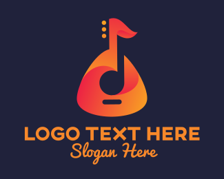 Music - Guitar Musical Note logo design