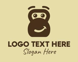 Ape - Brown Gorilla Gym Mascot logo design