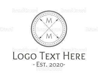 Double - Double M Arrow Badge logo design