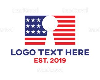 American Flag - American Lock logo design