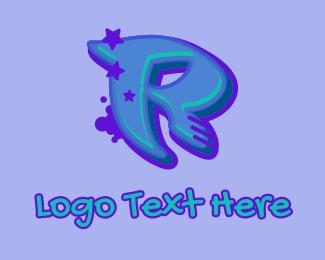 Record Producer - Graffiti Star Letter R logo design