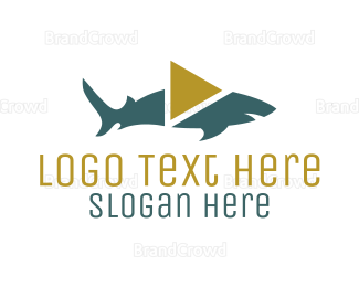 Fin - Shark Video Play logo design