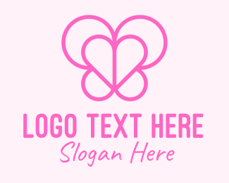 Love Heart - Pink Butterfly Heart logo design