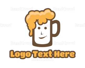 Alcohol - Bubbly Beer Man logo design