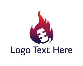 Recording - Microphone Fire logo design