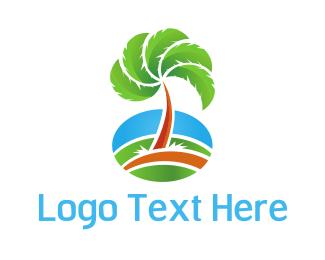 Coconut Tree - Tropical Fan Palm logo design