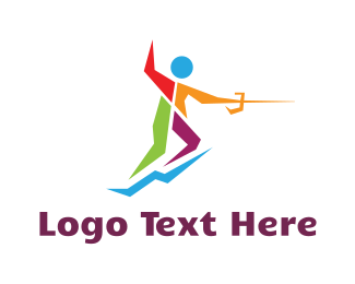 Sword Fight - Colorful Fencer logo design