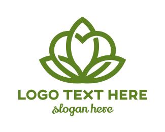 Dating App - Heart Flower Outline logo design