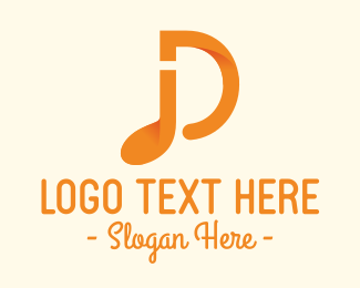 Tune - Orange Musical Note Letter D logo design