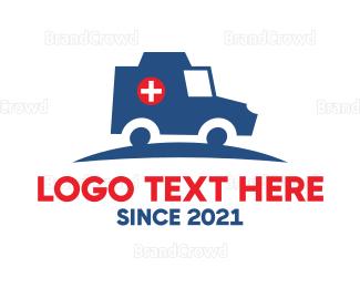 Hospital - Blue Ambulance logo design