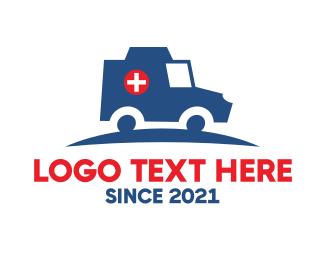 Driver - Medical Emergency Hospital Ambulance logo design