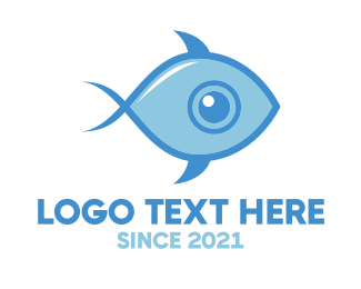 Blue Fish - Fish Eye logo design