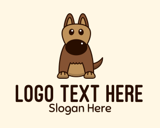 Dog Head - Cute Brown Dog  logo design