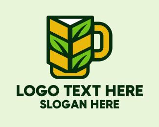 Beer Bottle - Organic Beer Mug  logo design