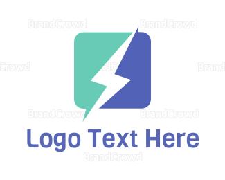 Thunderbolt - Square Lightning logo design