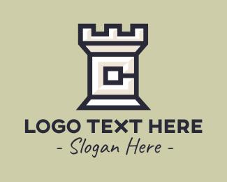 Fortress - Castle Turret Letter C logo design