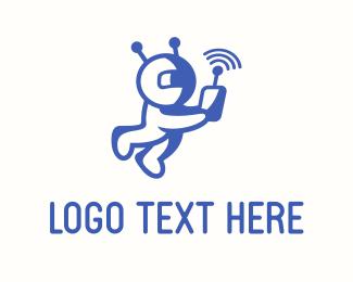 Martian - Astronaut Signal logo design