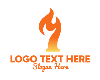 Orange Fire - Sizzling Number 7 logo design