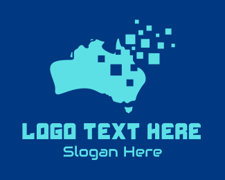 Boomerang - Australian Map Pixels Technology logo design