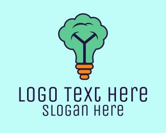 Sprout - Tree Light Bulb Idea logo design