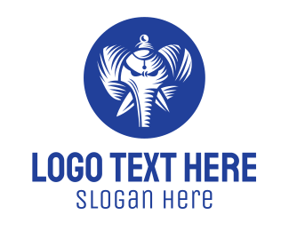 Hinduism - Blue Elephant God logo design