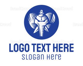 Buddhism - Blue Elephant God logo design