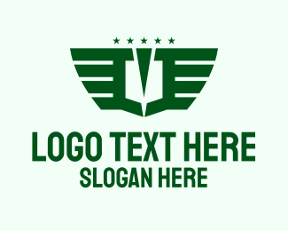 Pilot School - Abstract Green Star Wings logo design