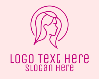 Miss - Pink Beauty Face Girl logo design