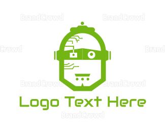 Droid - Green Robot logo design