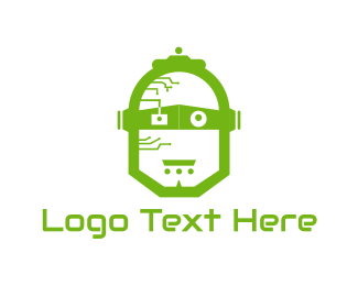 Artificial Intelligence - Green Robot logo design