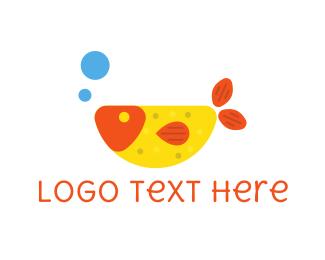 Aquarium - Fish & Bubbles logo design