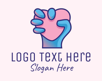 Online Dating - Heart Hand Hold logo design