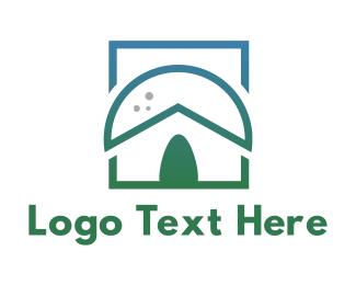 Green Box - Green Nipa Hut logo design