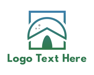 Tribal - Green Nipa Hut logo design