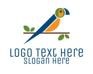 Forest Animal - Colorful Macaw Bird logo design