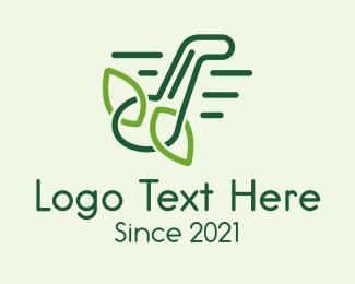 Leaf - Music Note Leaves Outline logo design