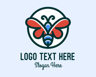 Butterfly Insect Badge logo design