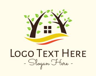 Cabin - Wave Tree House logo design