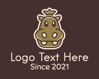 Blue Hippo - King Hippopotamus Mascot logo design