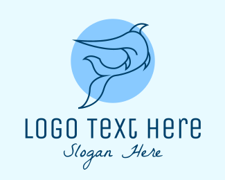 Blue Swordfish Fish logo design